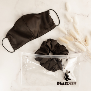 Black Super Sized Scrunchie & Mask Set - Scrunchie | Dear Deer -- mask, retail, scrunchie