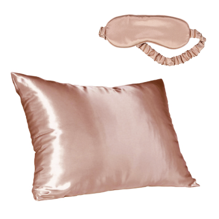 Rose Gold Satin Pillow Slip & Eye Mask Set
