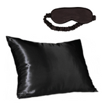 Black Satin Pillow Slip & Eye Mask Set