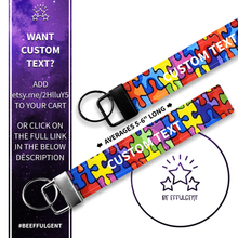 Load image into Gallery viewer, Autism Awareness Custom Key Fob Wristlet