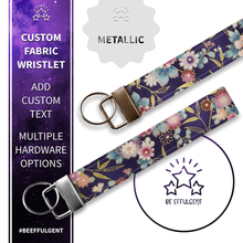Load image into Gallery viewer, Asian Inspired Floral Custom Key Fob Wristlet