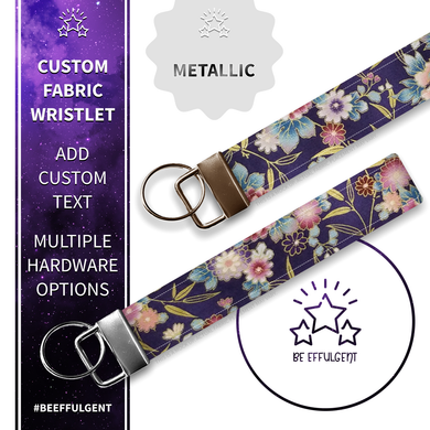 Asian Inspired Floral Custom Key Fob Wristlet