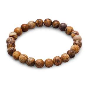 Picture Jasper Bead Stackable Stretch Bracelet