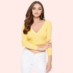 Lilith 3/4 Sleeve Crop Cardigan in 38 Colors (1-19)