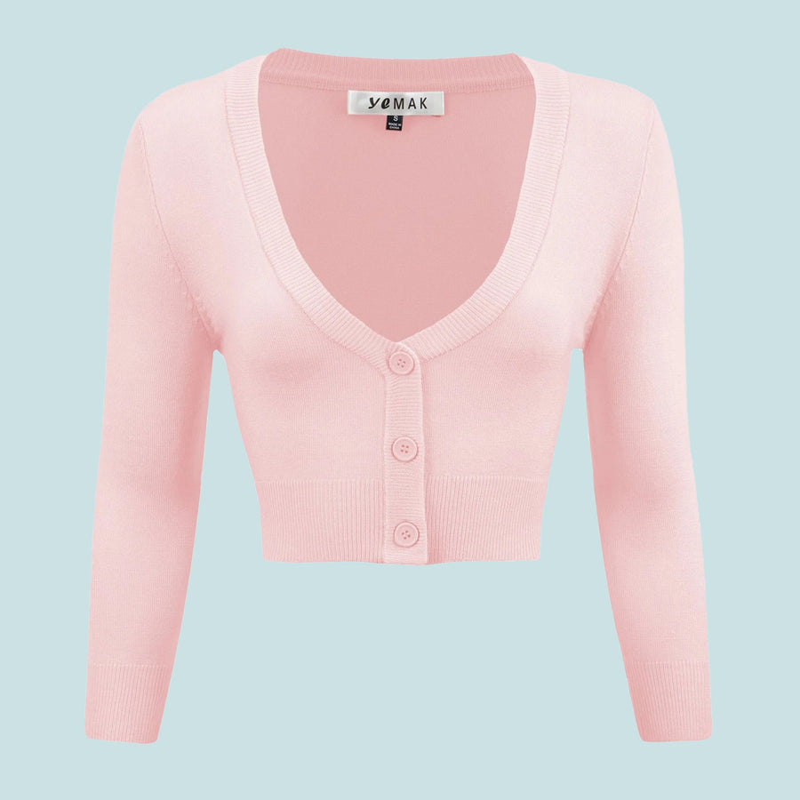 Kinny & Howie Cropped Length 3/4 Sleeve Cardigan in Blush Pink