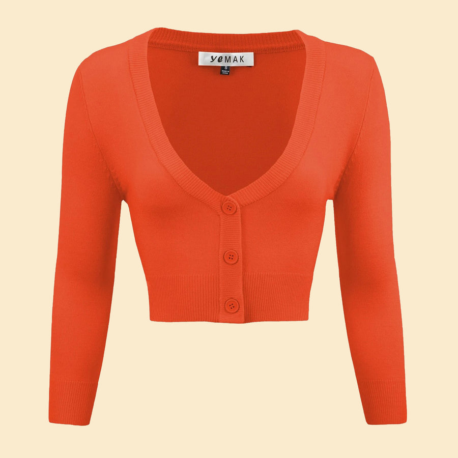 Kinny & Howie Cropped Length 3/4 Sleeve Cardigan in Fiesta Orange
