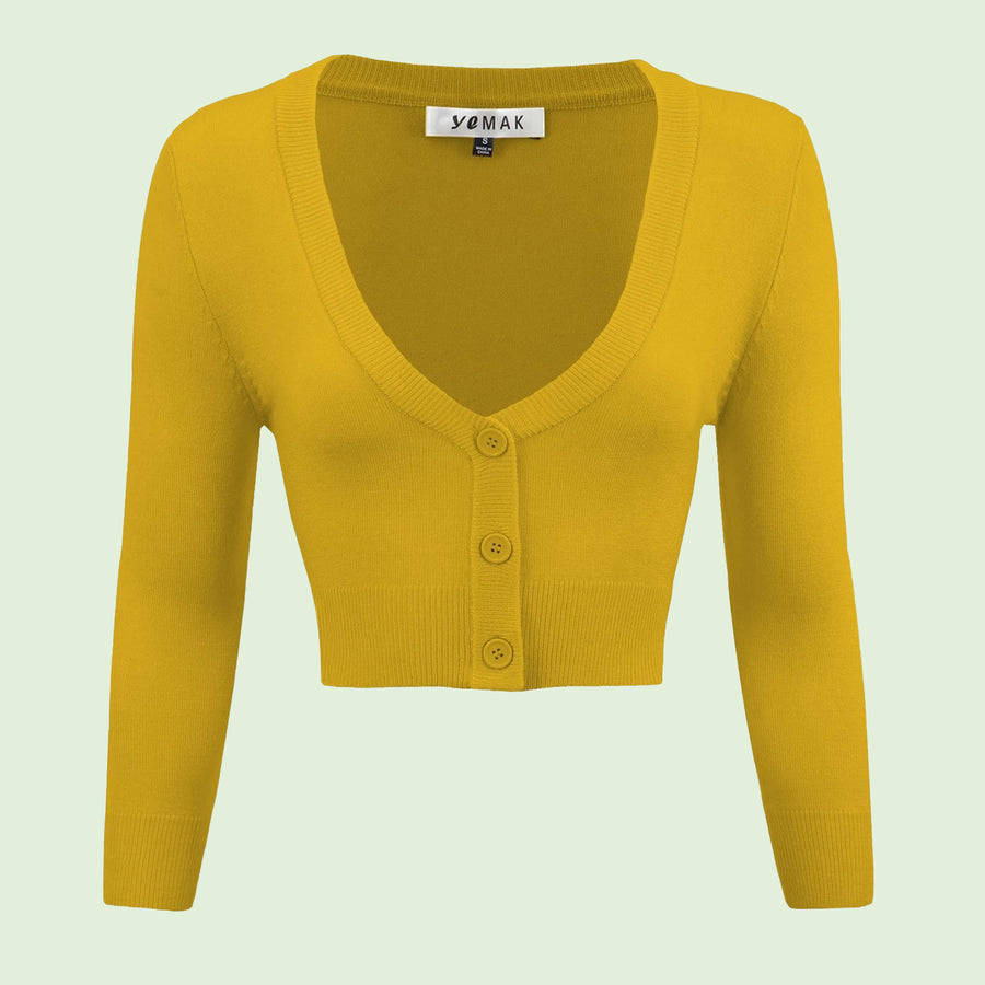 Kinny & Howie Cropped Length 3/4 Sleeve Cardigan in Honey