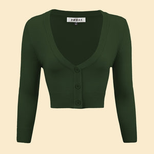 Kinny & Howie Cropped Length 3/4 Sleeve Cardigan in Hunter Green
