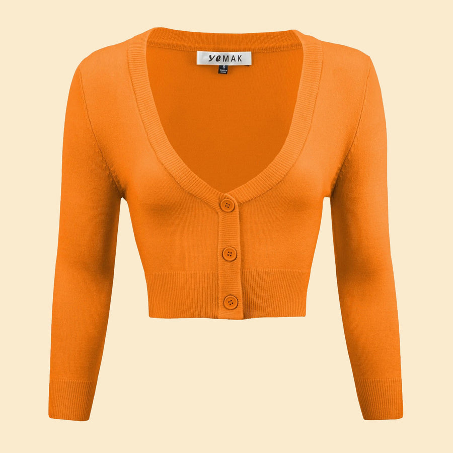Kinny & Howie Cropped Length 3/4 Sleeve Cardigan in Light Orange