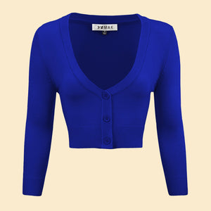 Lilith 3/4 Sleeve Crop Cardigan in 38 Colors (20-38)