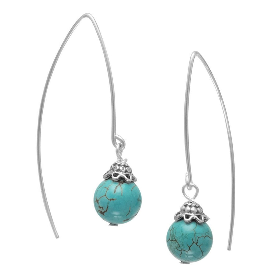 Turquoise Bead Long Wire Earrings