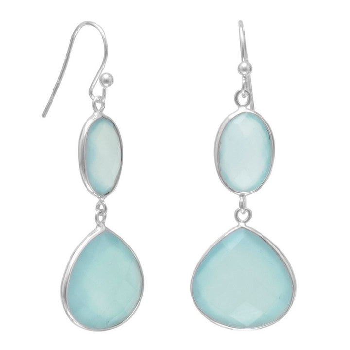Sea Green Chalcedony Drop Earrings