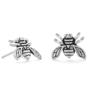 Be the Buzz! Oxidized Buzzing Bee Stud Earrings