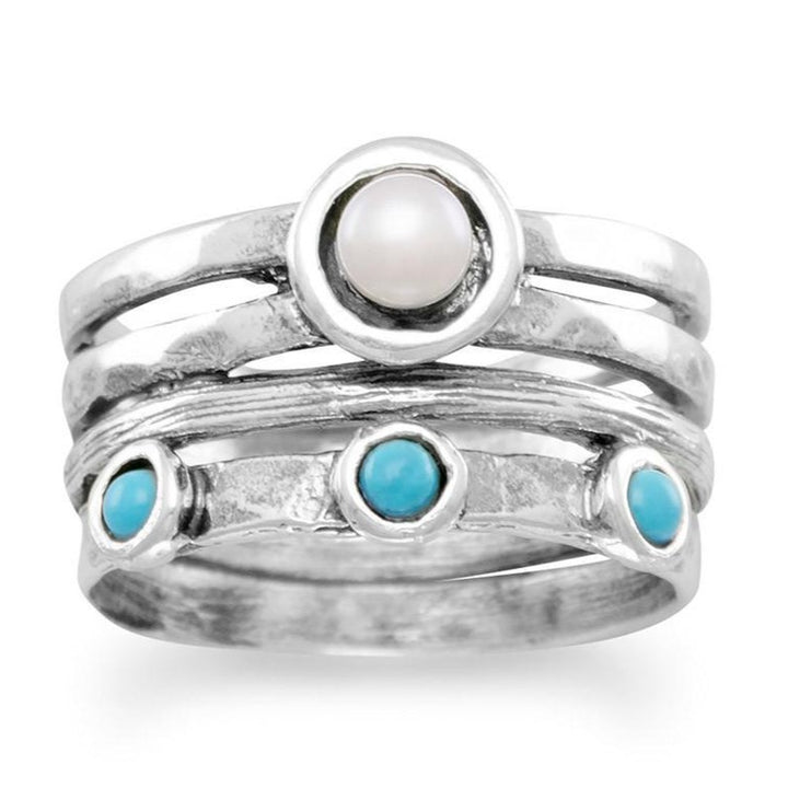 Cultured Freshwater Pearl and Turquoise Ring