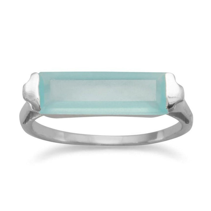 Green Chalcedony Bar Ring
