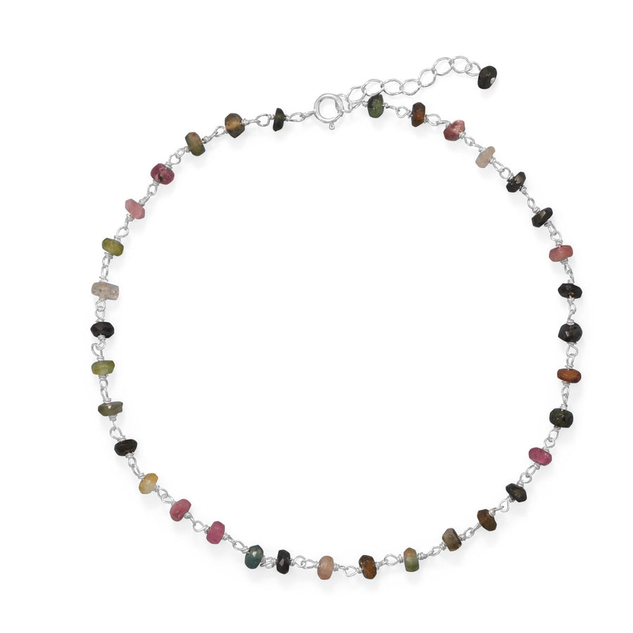 Sterling Silver and tourmaline multicolor bead anklet