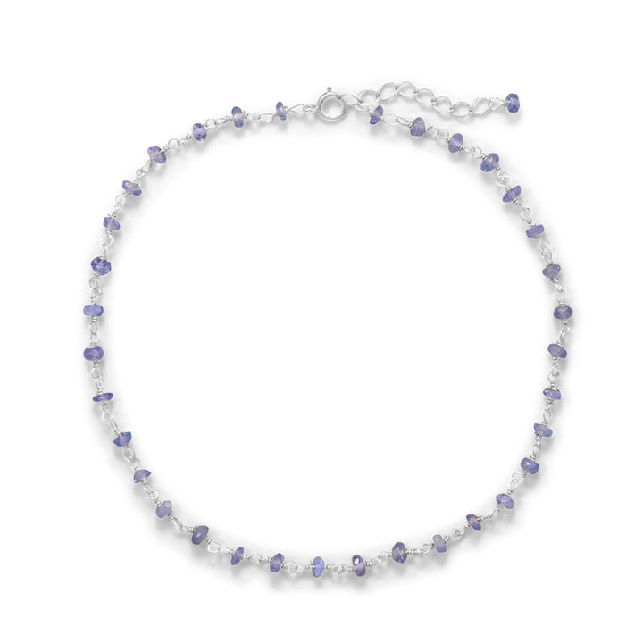 Sterling Silver anklet with lavender tanzanite beads