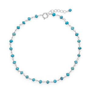 Blue Sea Turquoise Bead Sterling silver anklet