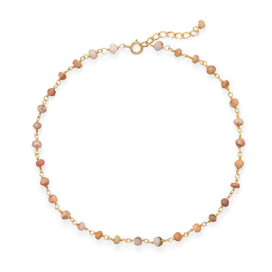 Pretty In Pink! Pink Opal 14 Karat Gold Plated Anklet