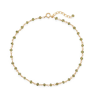 14 karat gold filled green peridot bead anklet