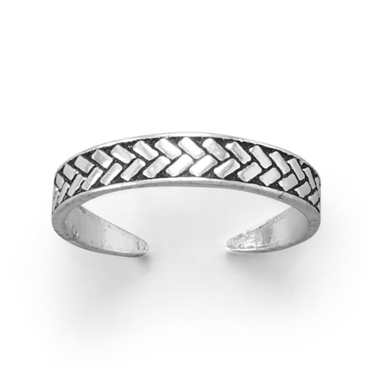 Chevron Pattern Sterling Silver Adjustable Size Toe Ring