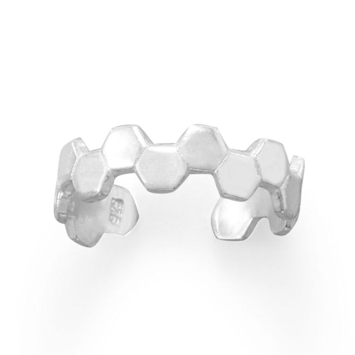 Honeycomb Design Sterling Silver Adjustable Size Toe Ring