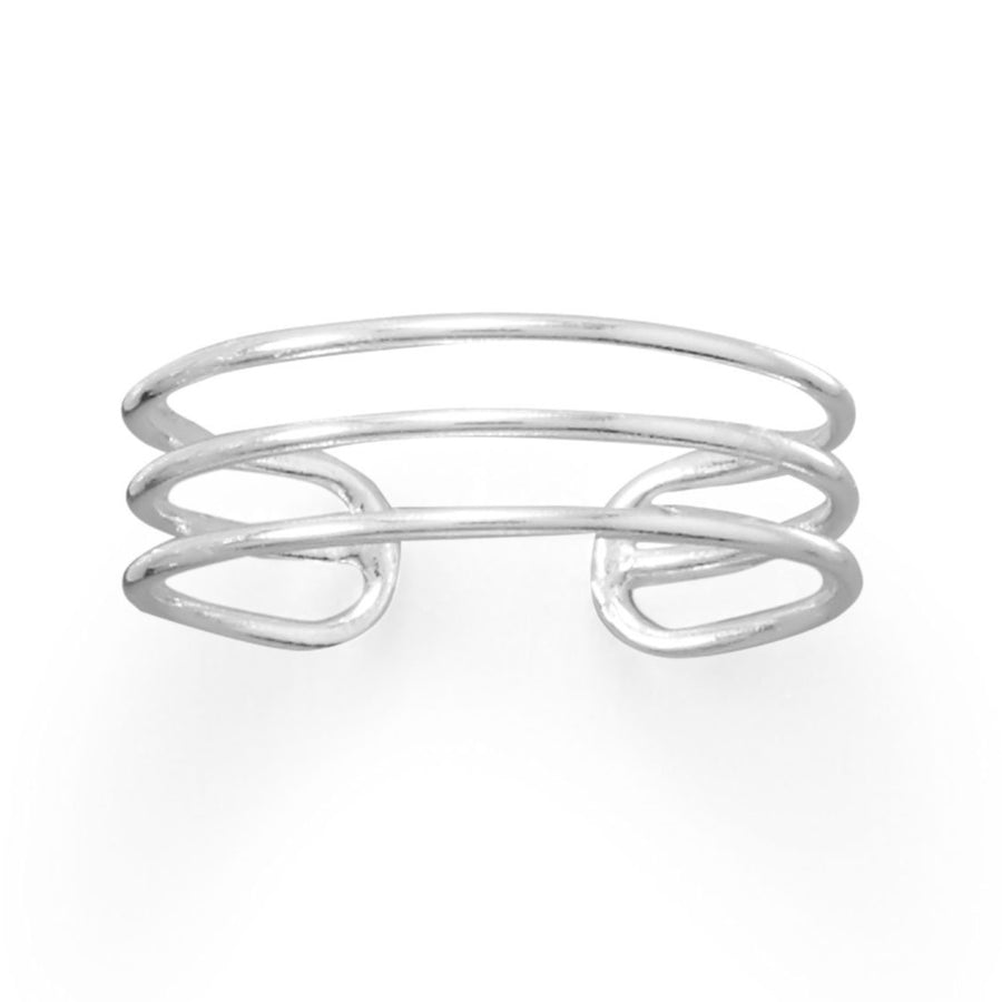 Polished Triple Row Sterling Silver Adjustable Size Toe ring