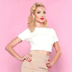 Bettie Page Girl Next Door Crop Tee in Ivory