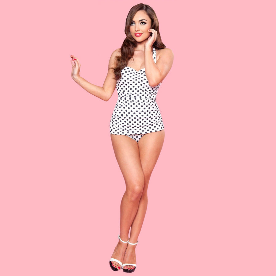 Esther Williams Vintage Style White Polka Dot Halter One Piece Swimsuit