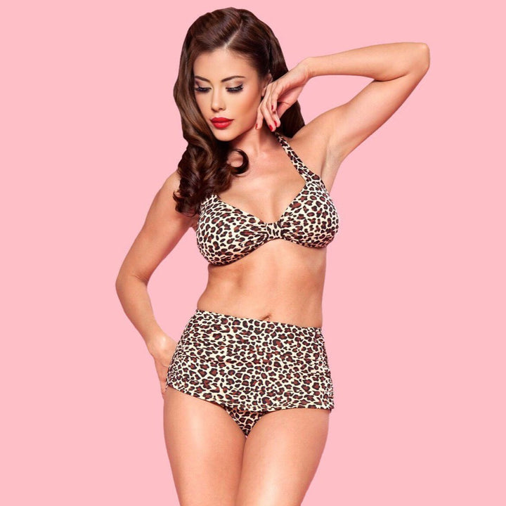 Esther Williams Vintage Style Leopard Print Bikini with Halter Top and High Rise Bottoms