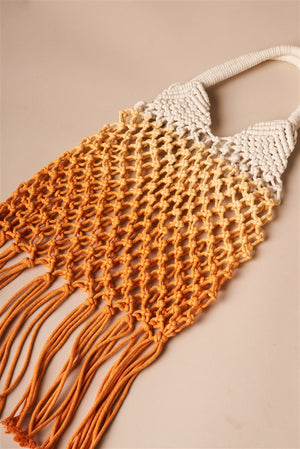 Boho Crochet Orange and White Ombre Beach Tote with Fringe