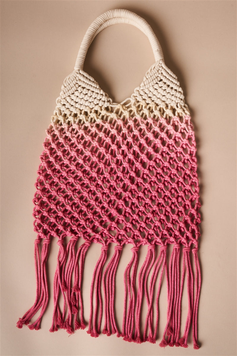 Boho Crochet Pink and White Ombre Beach Tote with Fringe