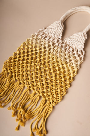 Boho Crochet Yellow and White Ombre Beach Tote with Fringe