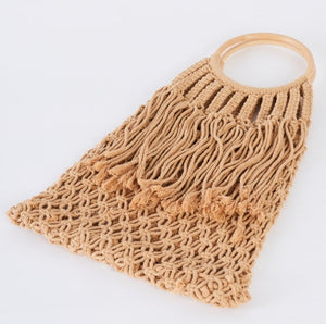 Crochet Fringe Wooden Handle Tote Bag in Taupe