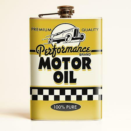 Motor Oil Vintage Style Drinking Flask