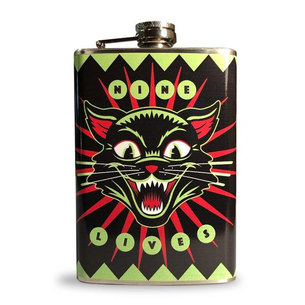 Nine Lives Black Cat Drinking Flask