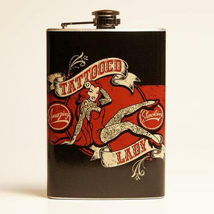 Tattooed Lady Vintage Style Drinking Flask