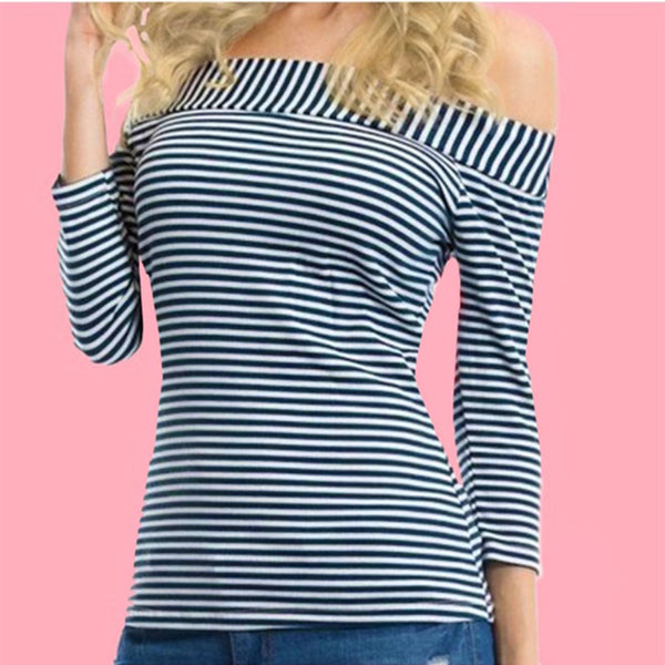 Contrast Collar Navy & White Stripe Off Shoulder 3/4 Sleeve Top