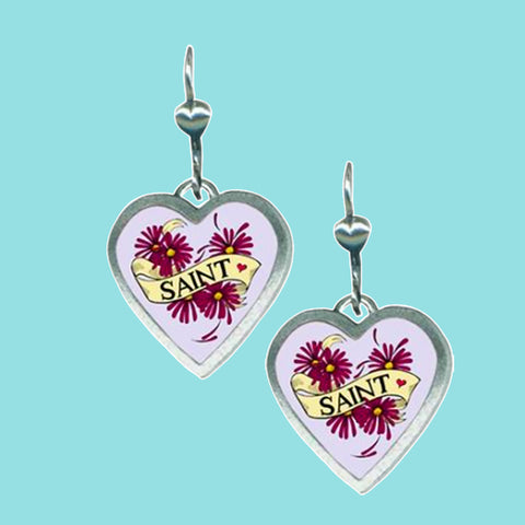 Classic Hardware Heartware Saint Dangle Earrings