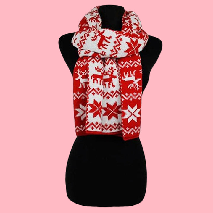 Snow Flake & Reindeer Holiday Scarf
