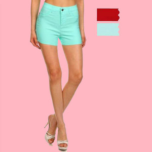 Kinny & Howie Mint or Red High Waist Stetch Juniors Mini Shorts