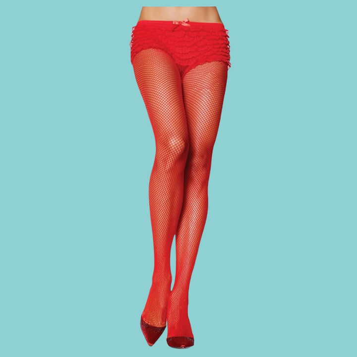 Leg Avenue Red Fishnet Stockings