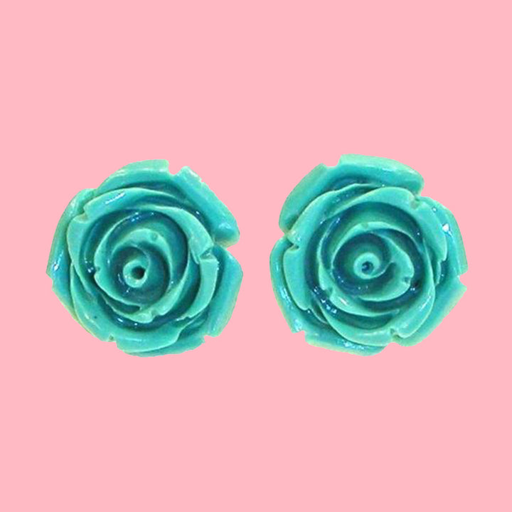 Kinny & Howie Accessories Teal Rose Stud Earrings