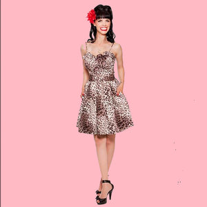 Kinny & Howie Leopard Print Ruffle Bodice Pleated Skirt Fit and Flare Dress
