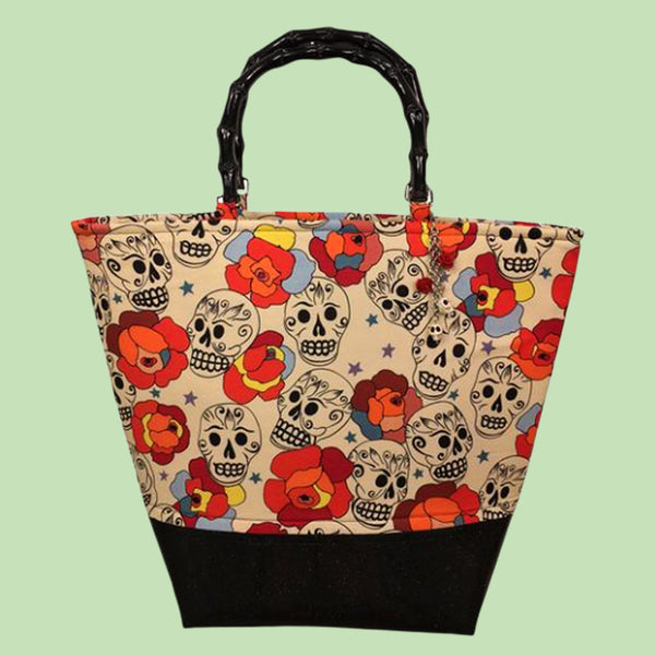 Kinny & Howie Tiki Skull & Roses Bamboo Handle Vintage Style Sparkle Leather Tote Bag