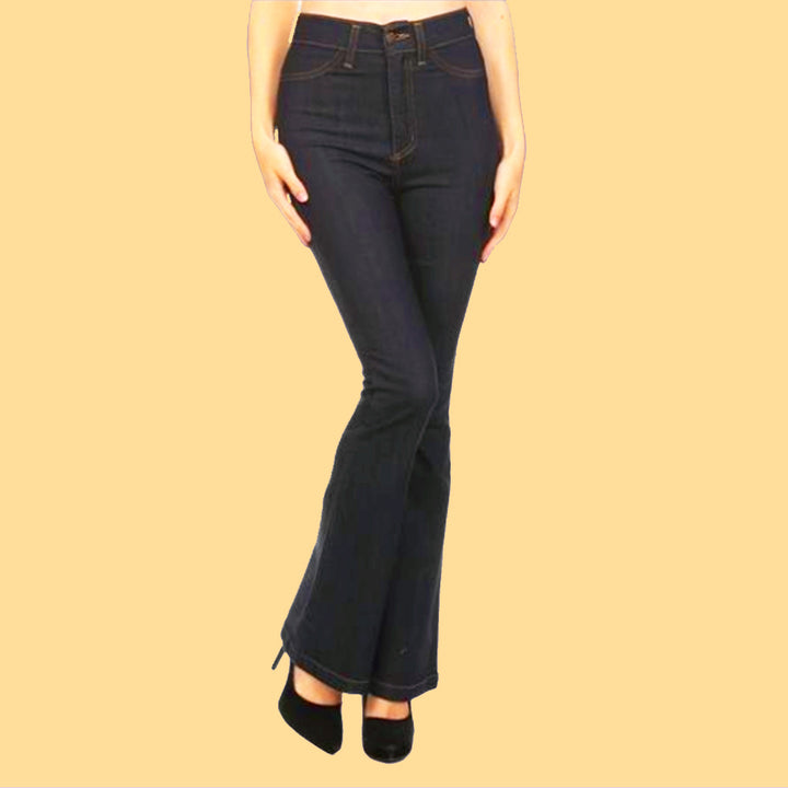 Kinny & Howie Farrah High Waist Flared Bell Bottom Boho 1970's Style Jeans