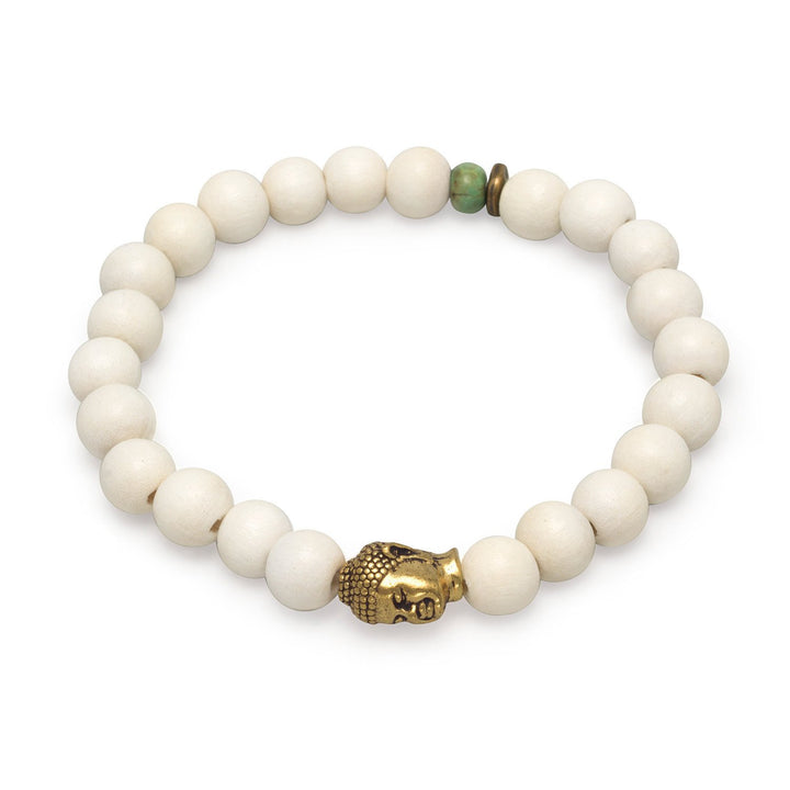 White Wood Bead Stackable Stretch Bracelet with Accent Buddha Bead