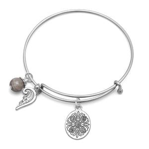 Expandable Silver Tone Bangle Bracelet with Angel Wing, floral, and Labradorite Charms
