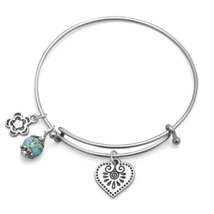 Expandable Silver Tone Bangle Bracelet with Flower, Heart, and Turquoise Bead Charm