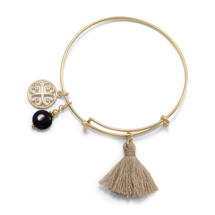 Gold Tone Expandable Bangle Bracelet with Tan Tassel and Onyx Charm